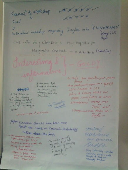 Participants' feedback on the Ethnography and Social Identities Workshop at TISS, Mumbai on 31st August 2012.